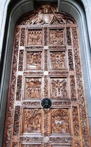 Eichentüren von 1470, 20 Reliefs-Szenen der Heiligengeschichten