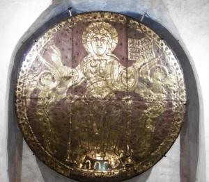 Kupferplatte mit Feuervergoldung, Christus segnend mit Buch