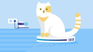 Grafik einer Katze auf einem Saugroboter