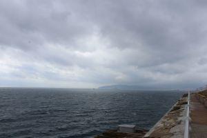 Blick über die Straße von Gibraltar, im Hintergrund......Marokko