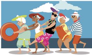 Illustration Gruppe Senioren am Strand