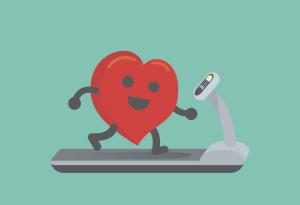 Illustration Herz auf dem Laufband