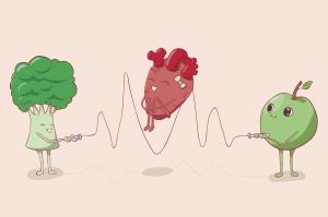 Illustration Brokkoli, Herz und Apfel beim Seilspringen