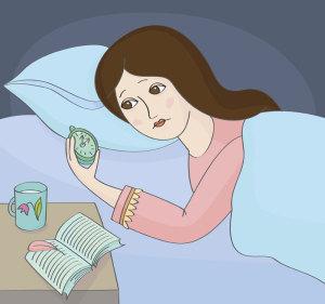 Frau findet keinen Schlaf