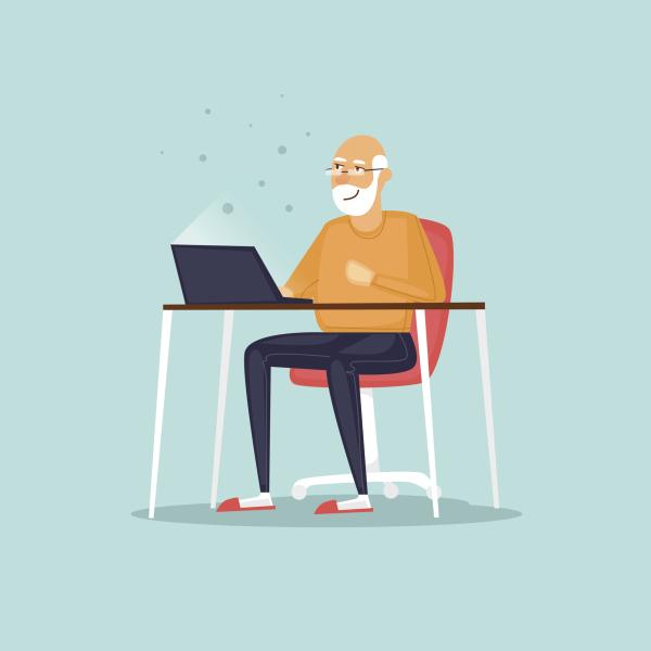 Zeichnung eines alten Mannes vor dem PC