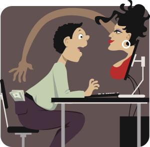 Frau im PC klaut Mann das Geld