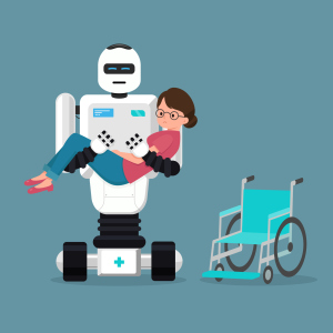 Roboter trägt ältere Frau