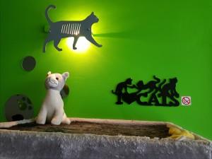 alles ist katzenfreundlich eingerichtet...Spielzeug, Kletterbäume, Platze zum Schlafen und Ausruhen