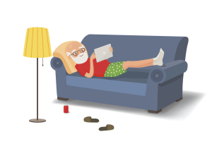 Zeichnung eines Seniors auf dem Sofa liegend und im Internet browsend