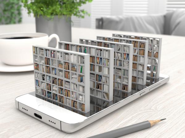 Bücherregale, die aus einem Handy herauskommen
