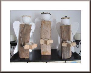 Selbstgebastelten Engel aus Holzscheite