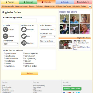 Screenshot Mitgliedersuche