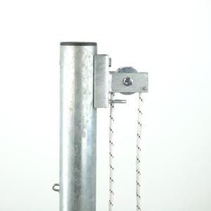 Straight pole net fencing hoist system For raising and lowering perimeter netting