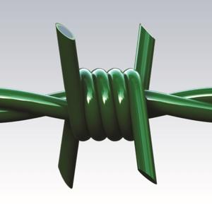 Riccio PVC Green plastic coated barded wire