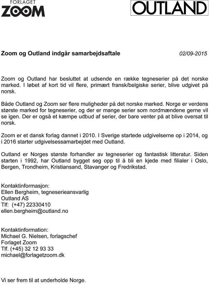 Forlaget Zoom og Outland annonserer avtale om samabeid for utgivelser av tegneseriealbum på norsk