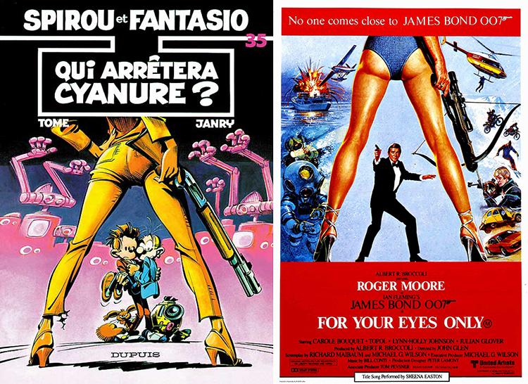 Janry var inspirert av filmplakaten til James Bond-filmen Kun for dine øyne da han tegnet forsiden til Hvem kan stoppe Cyanina?