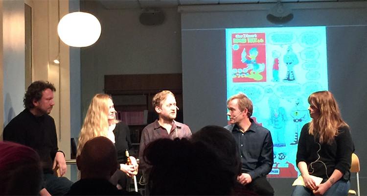 Tore Strand Olsen, Iselin Evensen, Øyvind Holen, Erik Falk, og Ingrid Brubaker på Tegneseriefest hos Cappelen Damm