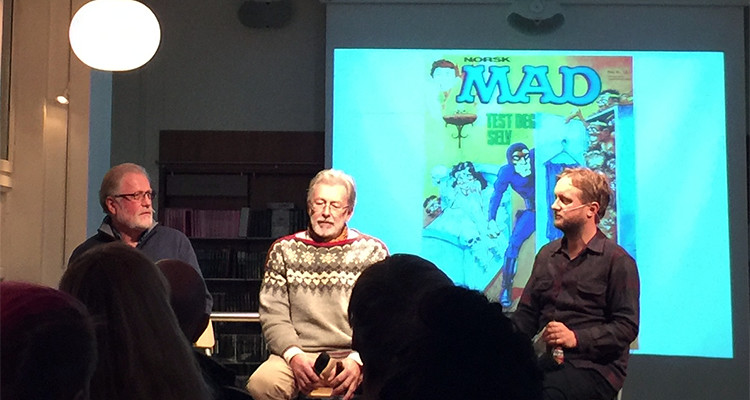 Dag Kolstad, Erik Ildahl, og Øyvind Holen på Tegneseriefest hos Cappelen Damm