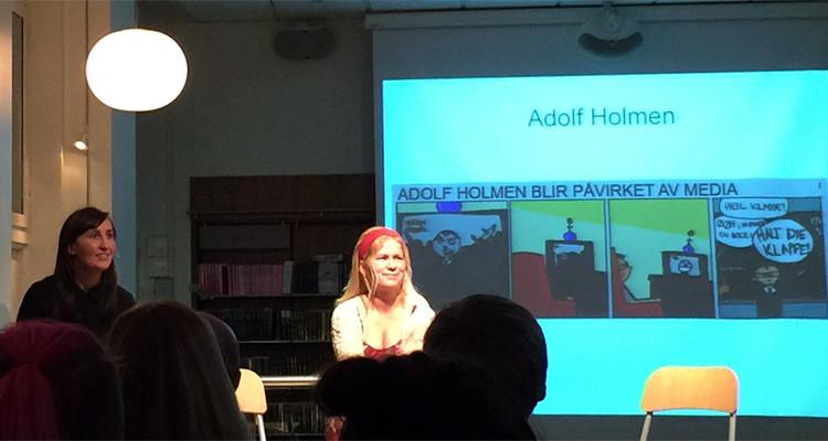 Hanne Sigbjørnsen og Tonje Tornes på Tegneseriefest hos Cappelen Damm.