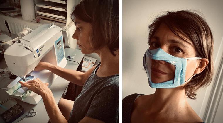 Photo couturière sur sa machine fabriquant les masques transparents