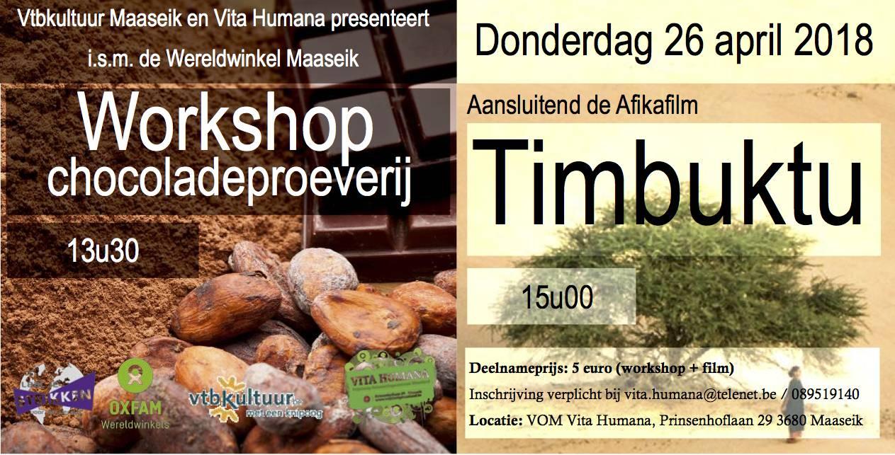 Workshop chocoladeproeverij & film Timbuktu