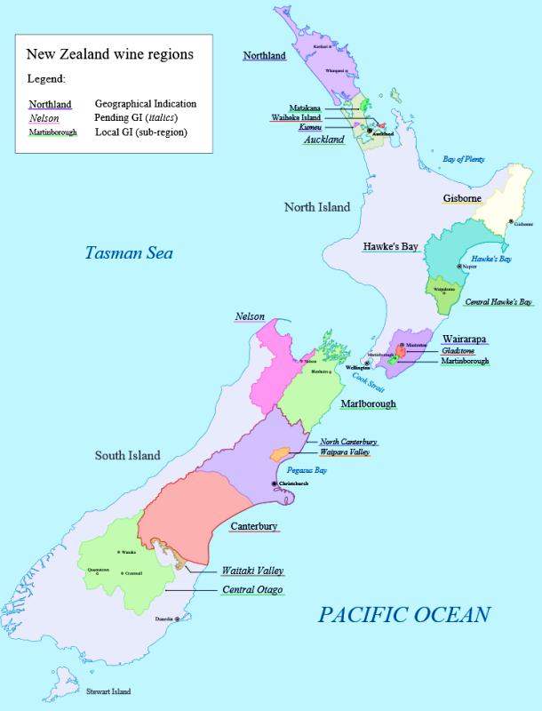 Wijnthema 'Nieuw-Zeeland'