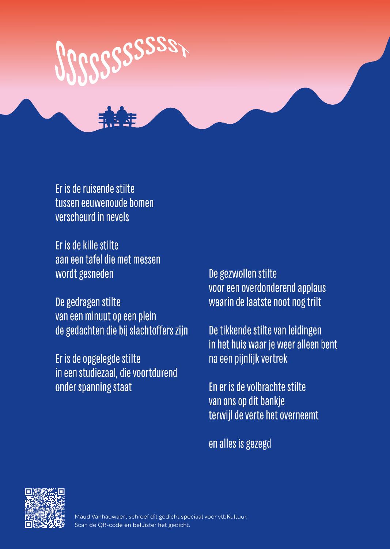 Gedicht van Maud Vanhauwaert over  Stilte