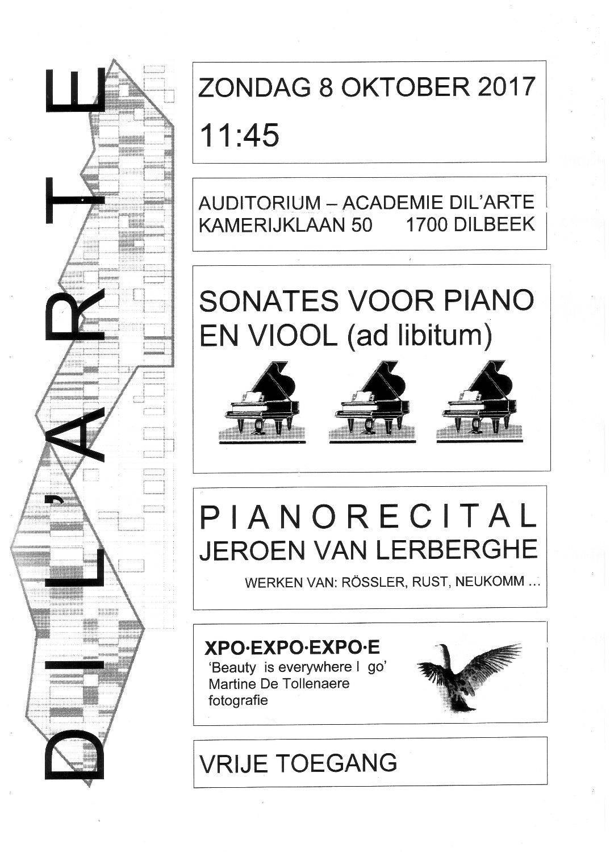 Pianorecital door Jeroen Van Leerberghe