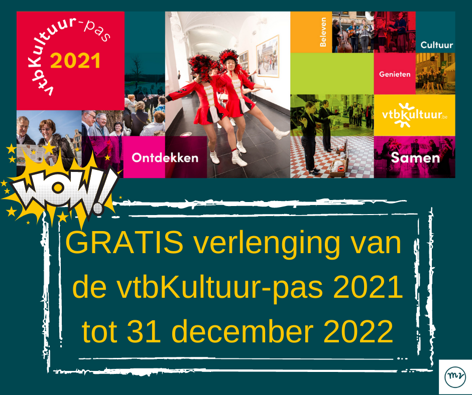 vtbKultuur-pas wordt gratis verlengd  tot 31/12/2022