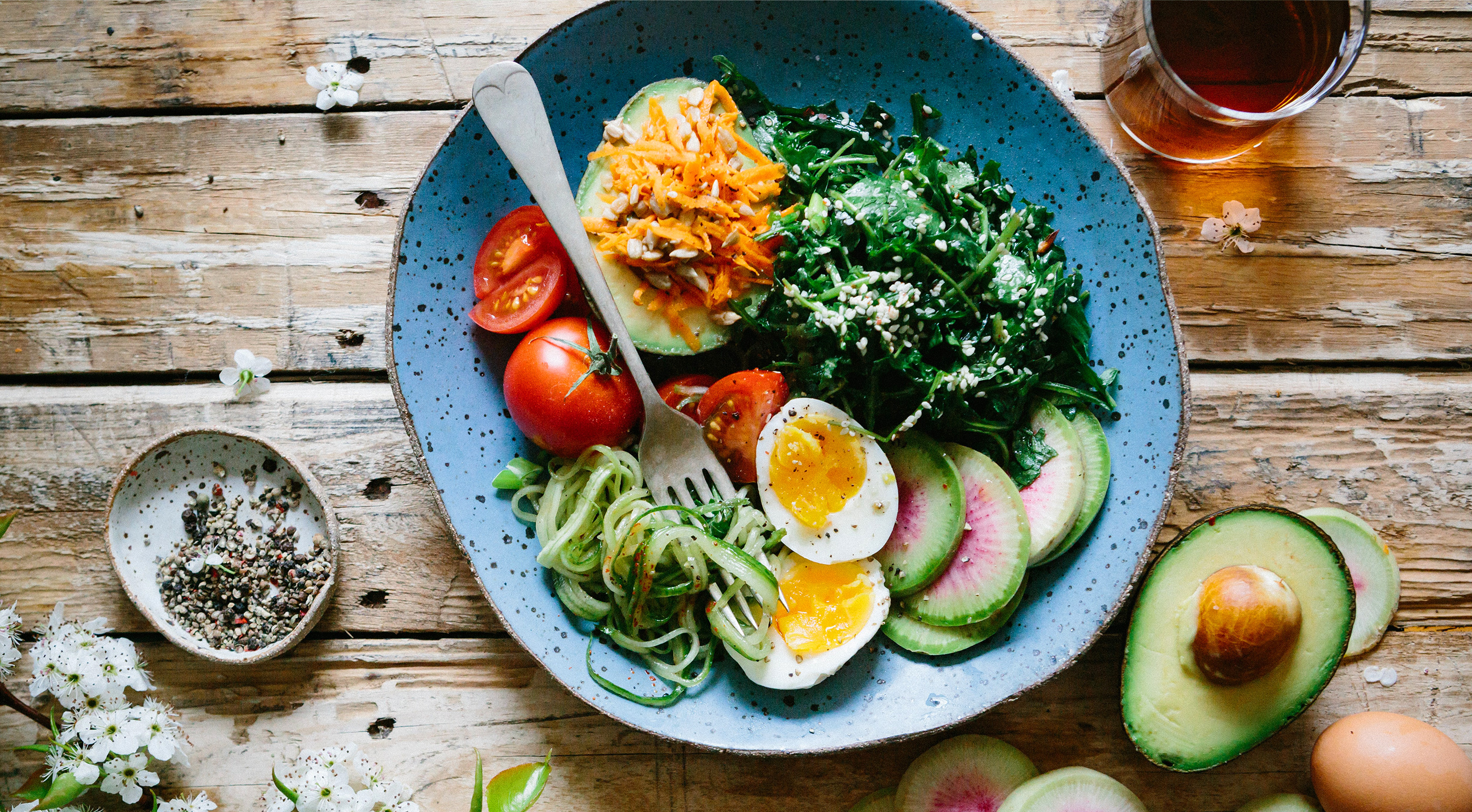 A plate full of healthy vegetables and eggs