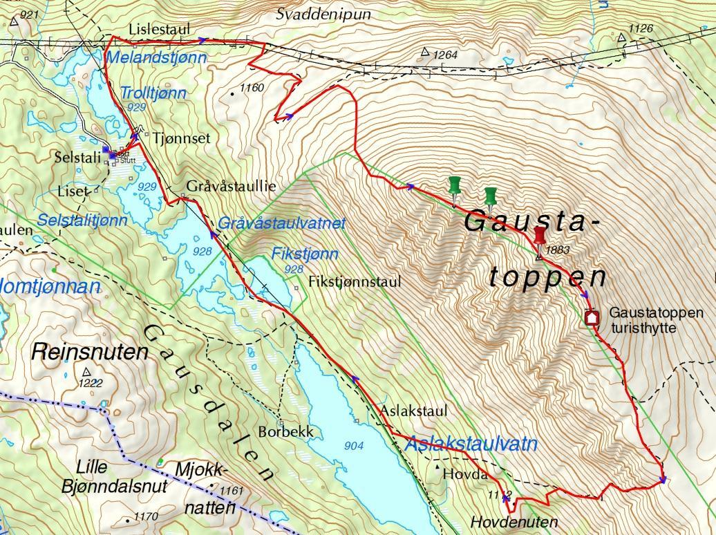 kart over gaustatoppen Rjukan Gaustatoppen som dagstur fra Oslo   Fjellvandring   Fjellforum kart over gaustatoppen