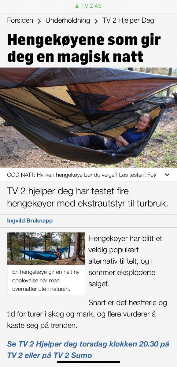 Hengekøyetest på TV2 Hengekøye og tarp Fjellforum