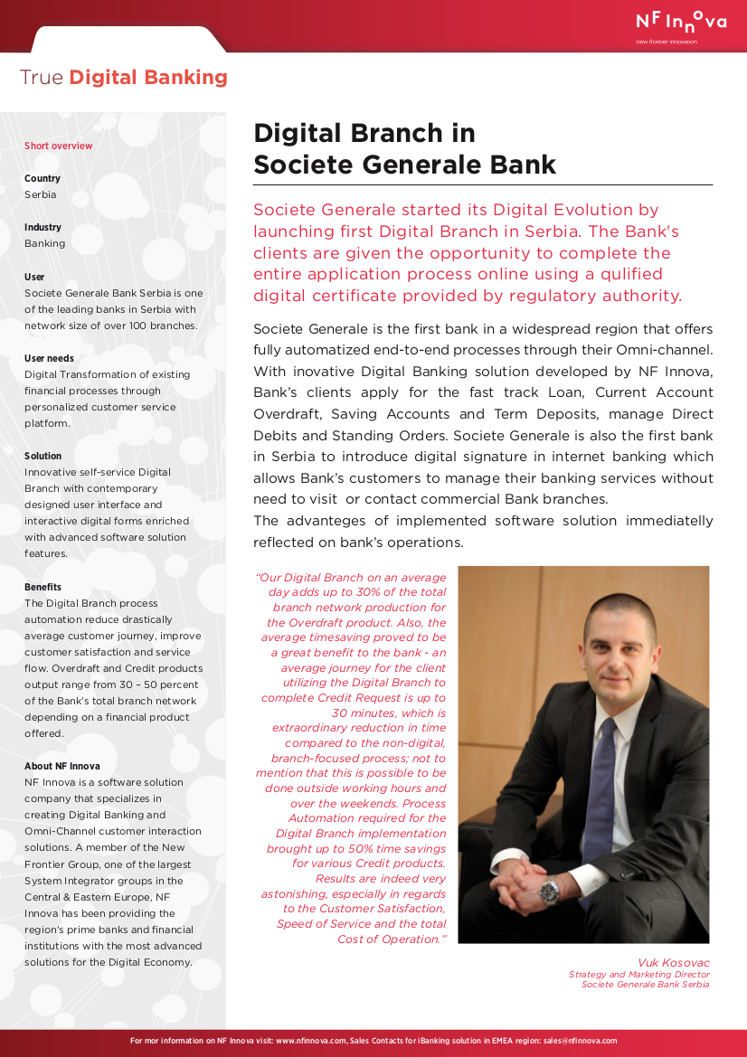 Digital Branch in Societe Generale Bank