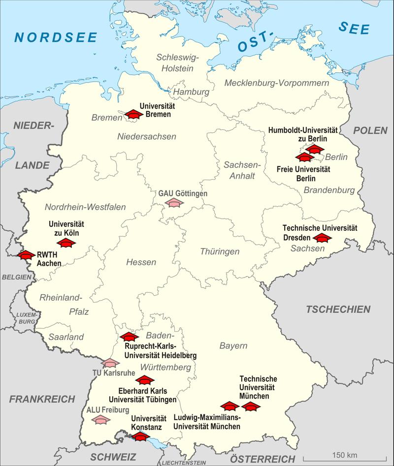 Karte Elite Universitäten Deutschland 2012