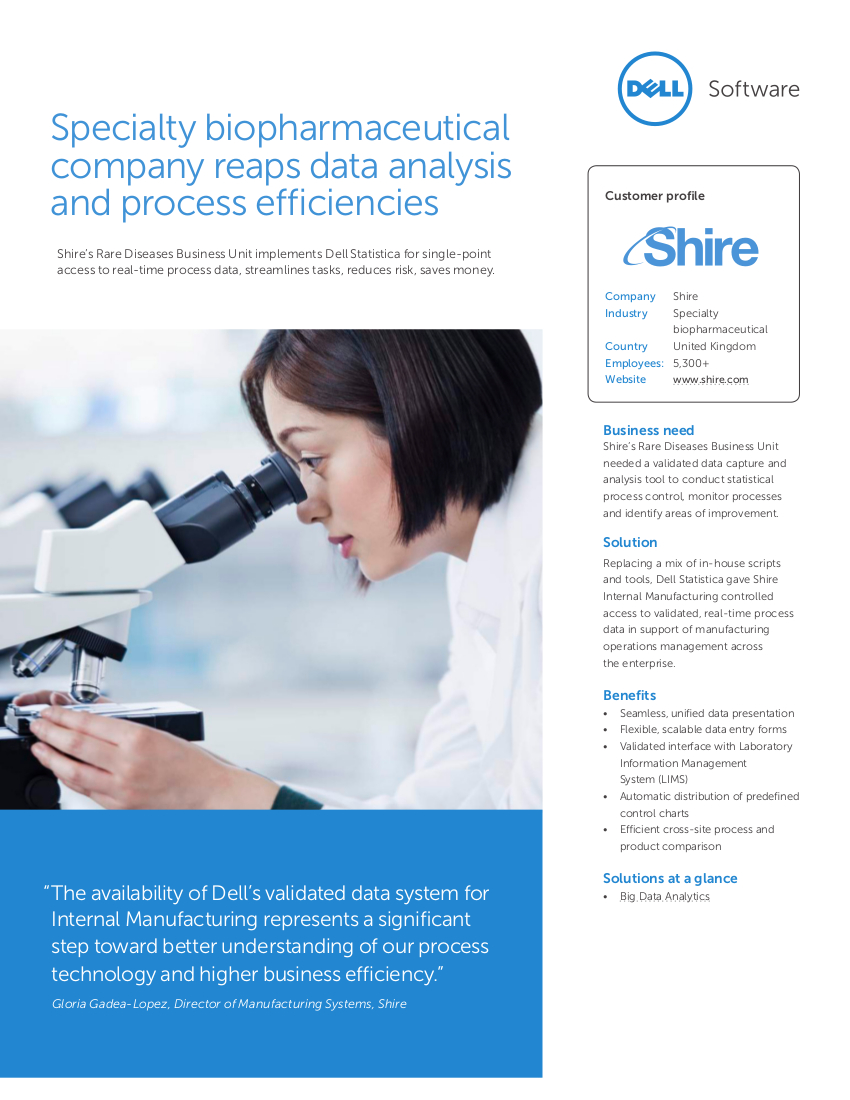 Specialty biopharmaceutical company reaps data analysis and process efficiencies
