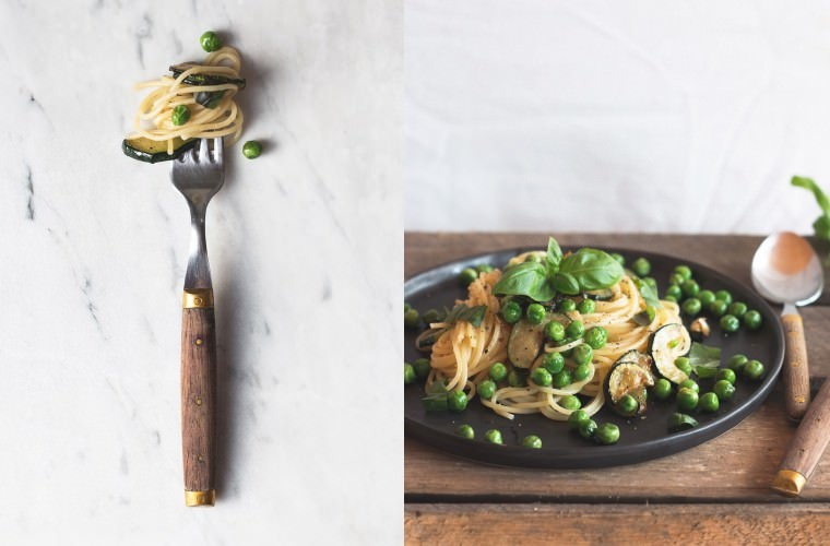 Erbsenpasta mit Basilikum & Zitrone {flowers on my plate}