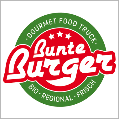 Logo Foodtruck Bunte Burger Gourmet Food Truck