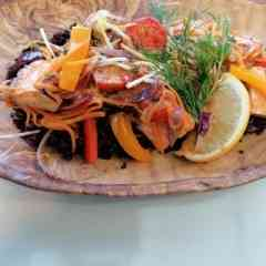 Fish 2 Go - Gebratenes Lachsfilet mit schwarzem Wildreis in Kokosmilchsauce
