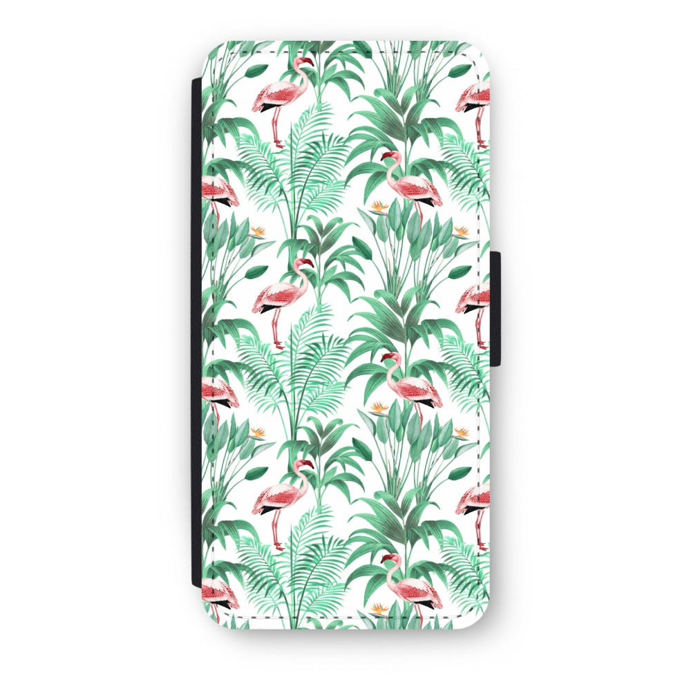 iPhone 5/5s/SE Flip Hoesje - Flamingo bladeren