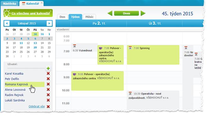 Zvýraznění uživatele v kalendáři