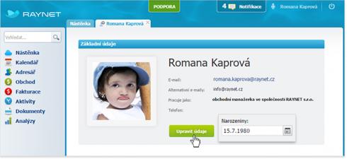 Přidání více alternativních adres v nastavení uživatele