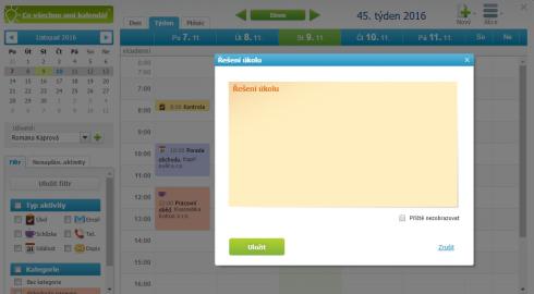 Kalendář - řešení úkolu