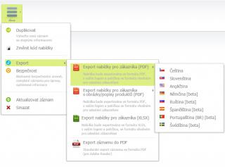 Export nabídky do dalších jazyků