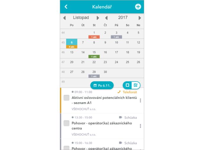 Mobilní aplikace má přehledný měsíční kalendář