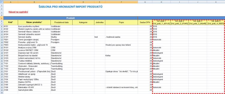 Volitelná pole v importní šabloně