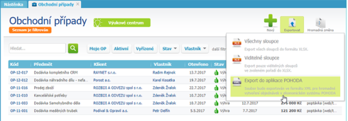 Export do aplikace POHODA