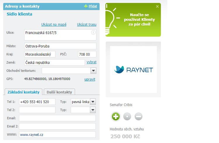RAYNET se pokusí automaticky doplnil logo firmy nebo fotografii osoby