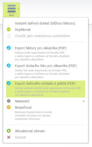 Export daňového dokladu k platbě