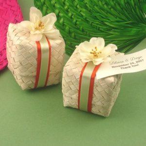 palm leaf gift box basket