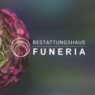 Funeria Logo mit Hintergrundbild einer Blume